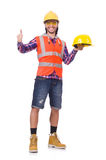 Young construction worker in helmet and briefs Royalty Free Stock Photography