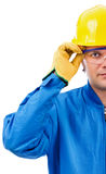 Young  construction worker with helmet and goggles Stock Photos