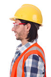 Young construction worker in helmet isolated on Royalty Free Stock Photos