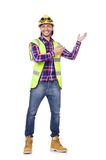 Young construction worker in helmet isolated on Stock Photo
