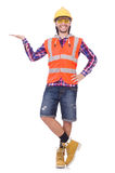Young construction worker holding isolated on Royalty Free Stock Photo
