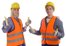 Young construction worker man woman job thumbs up isolated Stock Photos