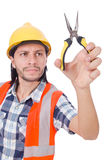 Young construction worker with nippers isolated on Royalty Free Stock Image