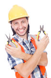 Young construction worker with nippers isolated on Royalty Free Stock Images
