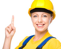 Young construction worker pointing up Royalty Free Stock Photography