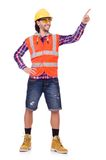 Young construction worker pressing vurtual button Stock Image