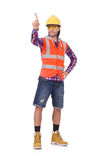 Young construction worker pressing vurtual button Stock Photography