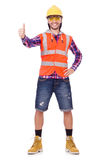 Young construction worker thumbs upisolated  on Stock Photo
