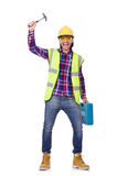 Young construction worker with toolbox isolated on Royalty Free Stock Photos