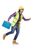 Young construction worker with toolbox isolated on Stock Image
