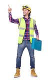 Young construction worker with toolbox isolated on Stock Photography