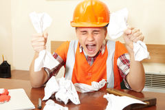 Free Young Contractor In The Office. Stress Royalty Free Stock Images - 65237489