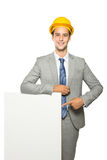 Young contractor pointing at whiteboard Stock Images