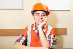 Young contractor relaxing in the office Royalty Free Stock Photos