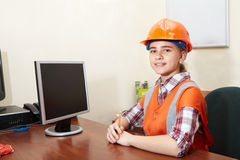 Young contractor relaxing in the office Stock Photo