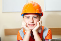 Young contractor relaxing in the office Royalty Free Stock Images