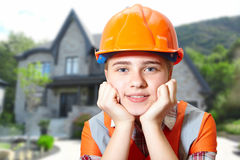 Young contractor relaxing in the office Stock Images