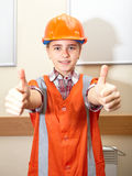 Young contractor shows gesture in the office Stock Photos