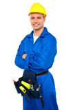 Young contractor with tool set and arms crossed Stock Image