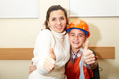 Free Young Contractor With Mother In Office. Ok Stock Image - 68327821