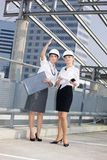 Young contractors. Young female contractors in a front of building site stock image