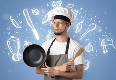 Young cook with chalk drawn soup recipe concept Royalty Free Stock Photo