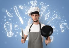 Young cook with chalk drawn soup recipe concept Stock Photos
