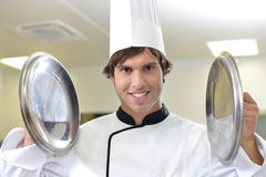 Young cook in school kitchen Stock Image
