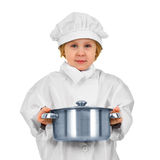 Young cook. Small girl in white suit with saucepan Royalty Free Stock Images