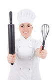 Young cook woman in uniform with baking rolling pin isolated on Stock Photos