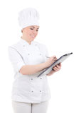 Young cook woman in uniform with clipboard isolated on white Royalty Free Stock Photos