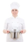 Young cook woman in uniform with pan isolated on white Royalty Free Stock Photography