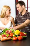 Young cooking couple Stock Photo