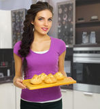 Young cooking woman Royalty Free Stock Photography