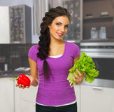 Young cooking woman Stock Images