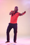 The young cool black man is dancing Royalty Free Stock Image