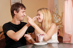 Young cople in cafe Stock Photo