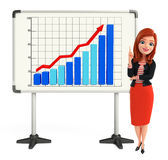 Young Corporate lady with business graph Royalty Free Stock Photos