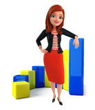 Young Corporate lady with business graph Stock Photo