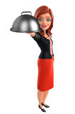 Young Corporate lady with dish pan Royalty Free Stock Photo