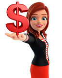 Young Corporate lady with dollar sign Stock Photos