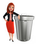 Young Corporate lady with dustbin Stock Photography
