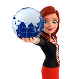 Young Corporate lady with globe Stock Photography