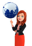 Young Corporate lady with globe Stock Photos