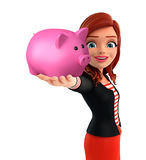 Young Corporate lady with piggy bank Royalty Free Stock Image
