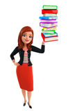Young Corporate lady with pile of books Royalty Free Stock Photography