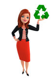 Young Corporate lady with recycle icon Royalty Free Stock Photography