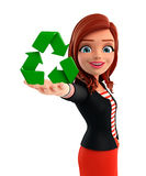 Young Corporate lady with recycle icon Stock Image