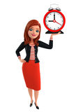 Young Corporate lady with table clock Royalty Free Stock Photos