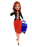 Young Corporate lady with traveling bag Stock Image